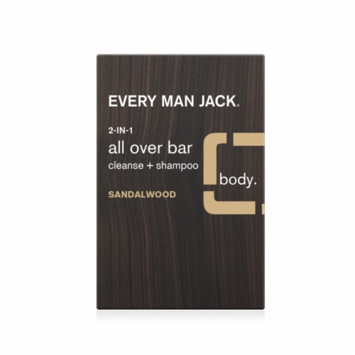 Every Man Jack 2-in-1 Sandalwood Cleanse + Shampoo All Over Bar Perspective: front