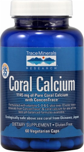 Trace Minerals Research Coral Calcium Vegetarian Capsules 1145mg Perspective: front