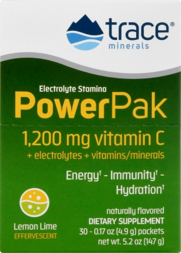Trace Minerals Electrolyte Stamina Power Pak Lemon Lime Dietary Supplement Packets Perspective: front