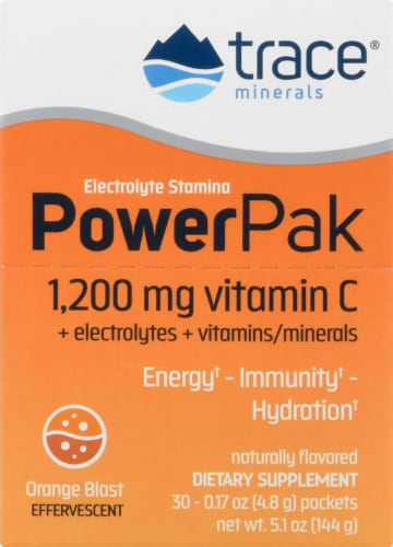 Trace Minerals Electrolyte Stamina Power Pak Orange Blast Dietary Supplement Packets Perspective: front