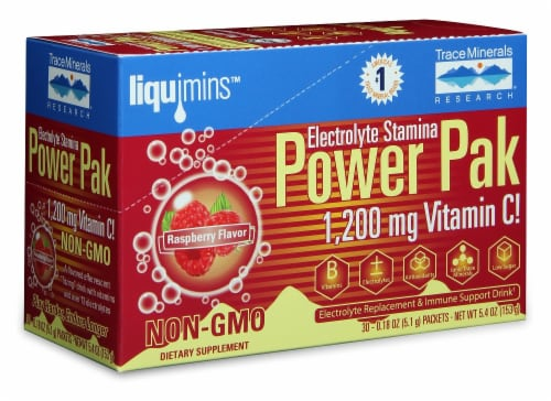 Trace Minerals Research Raspberry Electrolyte Stamina Power Pak Perspective: front