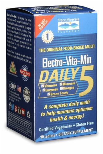 Trace Minerals Research Electro-Vita-Min Daily 5 Supplement Tablets Perspective: front