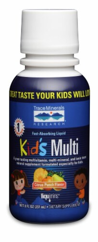 Trace Minerals Research  Kid's Multi Fast-Absorbing Liquid Formula Dietary Supplement   Citrus Punch Perspective: front