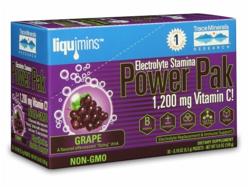 Trace Minerals Research  Electrolyte Stamina Power Pak   Grape Perspective: front