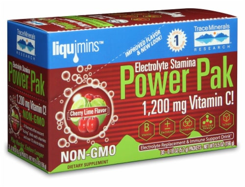 Trace Minerals Research  Electrolyte Stamina Power Pak   Cherry Lime Perspective: front