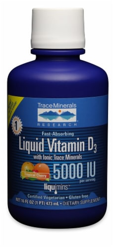 Trace Minerals Research  Liquid Vitamin D3 with Ionic Trace Minerals   Tropical Cherry Perspective: front