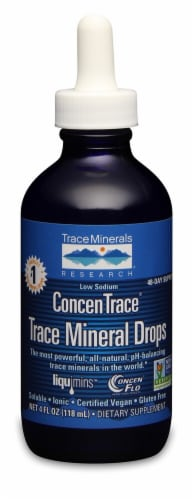 Trace Minerals Research  Low Sodium ConcenTrace® Trace Mineral Drops Perspective: front