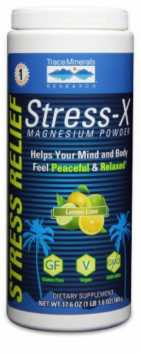 Trace Minerals Research  Stress-X Magnesium Powder Dietary Supplement   Lemon Lime Perspective: front