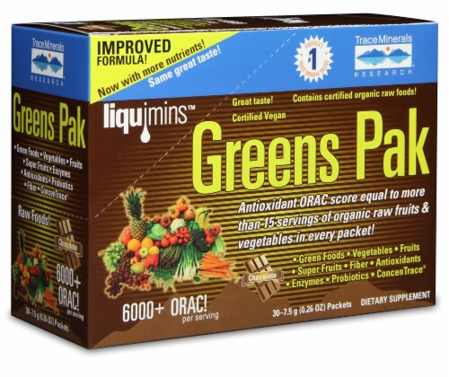 Trace Minerals Research  Greens Pak   Chocolate Perspective: front