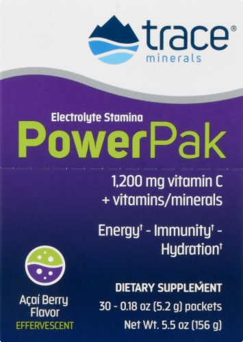 Trace Minerals Electrolyte Stamina Power Pak Acai Berry Dietary Supplement Packets Perspective: front