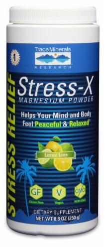 Trace Minerals Research  Stress X Magnesium Powder   Lemon Lime Perspective: front