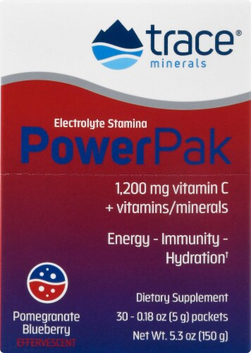 Trace Minerals Research  Electrolyte Stamina Power Pak   Pomegranate Blueberry Perspective: front