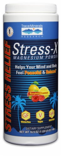 Trace Minerals Research  Stress-X Magnesium Powder Dietary Supplement   Raspberry Lemon Perspective: front