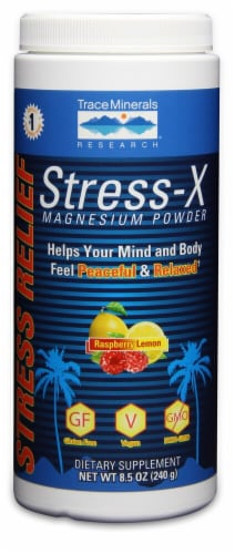 Trace Minerals Research  Stress-X Magnesium Powder   Raspberry Lemon Perspective: front