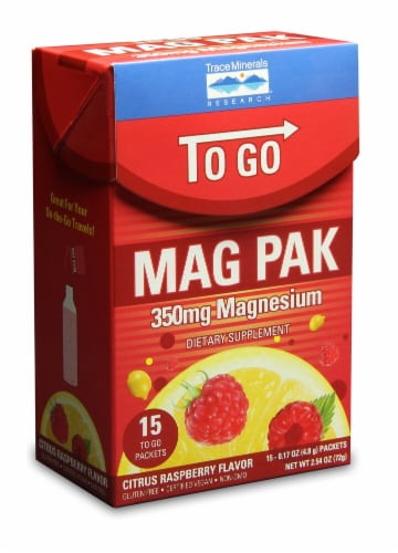 Trace Minerals Research  To Go Mag Pak   Citrus Raspberry Perspective: front