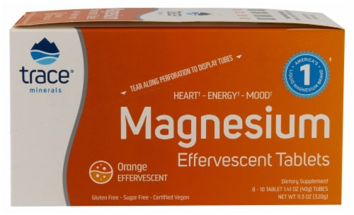 Trace Minerals Research Orange Magnesium Effervescent Tablets Tubes Perspective: front