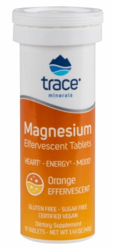 Trace Minerals Research Orange Flavored  Magnesium Effervescent Tablets Perspective: front