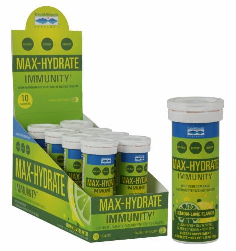 Trace Minerals Research Max-Hydrate Immunity+ Lemon-Lime Flavor Electrolyte Fizzing Tablets Tubes Perspective: front
