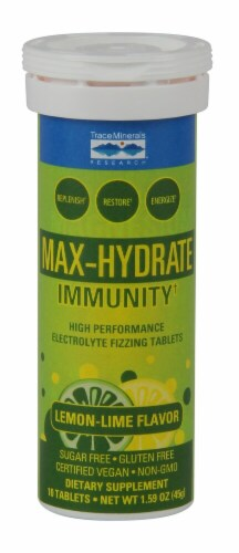 Trace Minerals Research Max-Hydrate Immunity+ Lemon-Lime Electrolyte Fizzing Tablets Perspective: front