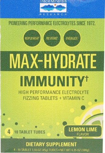 Trace Minerals Research  Max-Hydrate Immunity+ Box    Lemon Lime Perspective: front