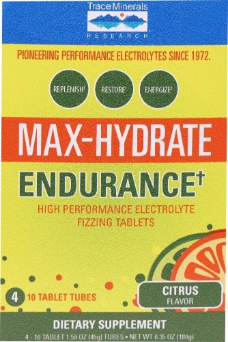Trace Minerals Research  Max-Hydrate Endurance+ Box   Citrus Perspective: front