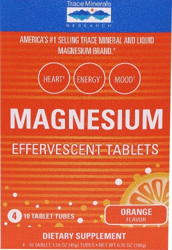 Trace Minerals Research  Magnesium Effervescent Tablets Box   Orange Perspective: front