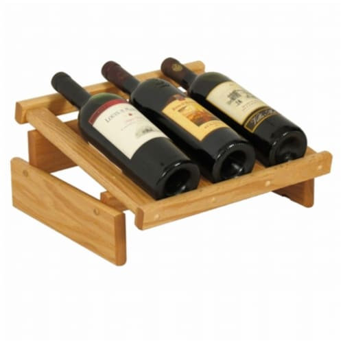 Wooden Mallet 3 Bottle Dakota Wine Display Perspective: front
