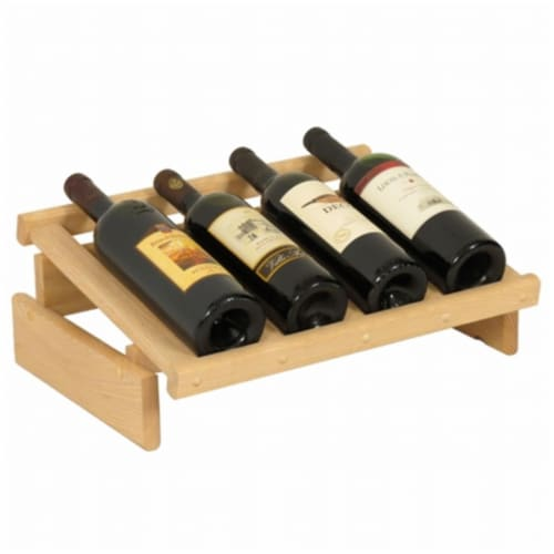 Wooden Mallet 4 Bottle Dakota Wine Display Perspective: front