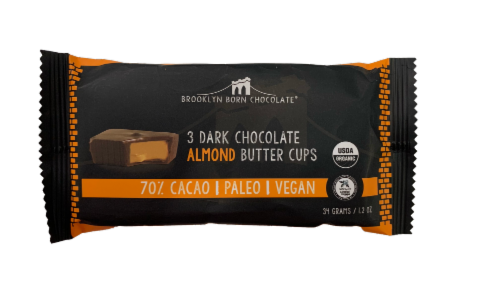Brooklyn Born Chocolate Dark Chocolate Almond Butter Cups Perspective: front