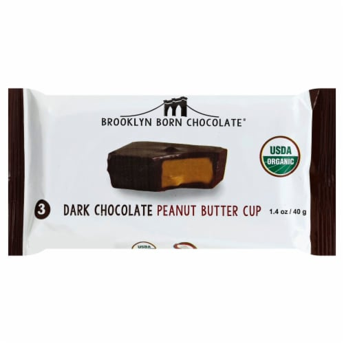 Brooklyn Born Chocolate Dark Chocolate Peanut Butter Cups Perspective: front