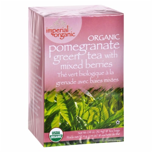 Uncle Lee's Imperial Organic Pomegranate Green Tea with Mixed Berries - 18 Tea Bags Perspective: front