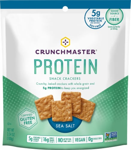 Crunchmaster Protein Sea Salt Snack Crackers Perspective: front