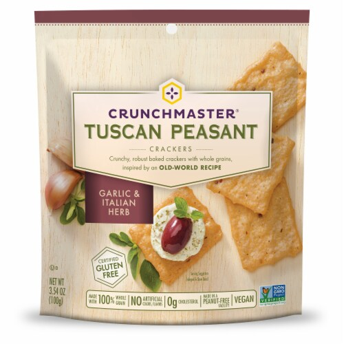 Crunchmaster Tuscan Peasant Garlic & Italian Herb Crackers Perspective: front