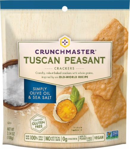 Crunchmaster Gluten Free Simply Olive Oil & Sea Salt Tuscan Peasant Crackers Perspective: front
