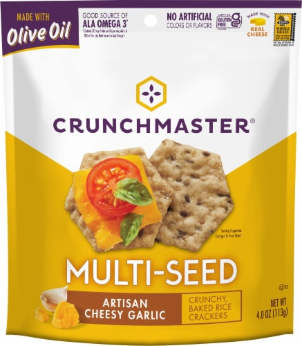Crunchmaster Multi-Seed Artisan Cheesy Garlic Bread Crackers Perspective: front