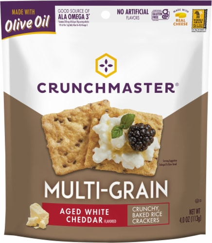 Crunchmaster Multi-Grain Aged White Cheddar Crackers Perspective: front