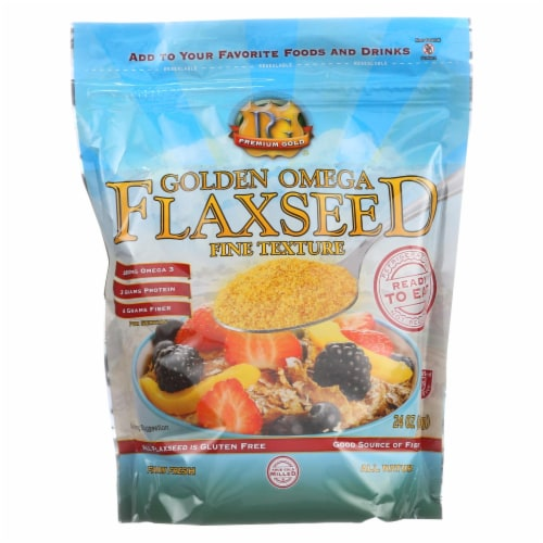 Premium Gold Flax Flaxseed - Golden Omega - True Cold Milled - 24 oz - Pack of 3 Perspective: front