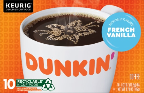 Dunkin' Donuts French Vanilla Flavored Coffee K-Cup Pods 10 Count Perspective: front