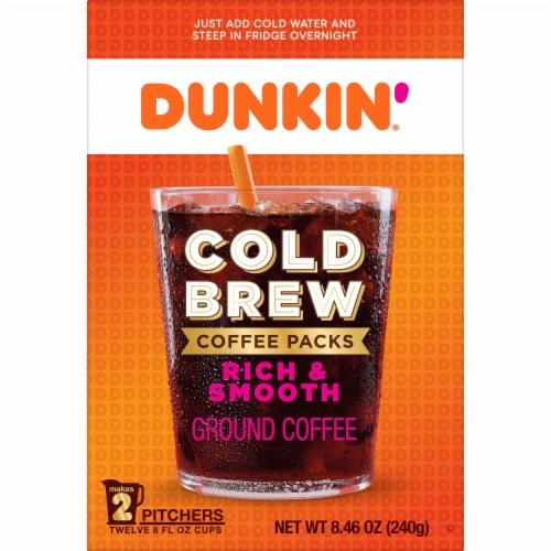 Dunkin' Donuts Cold Brew Coffee Packs Perspective: front