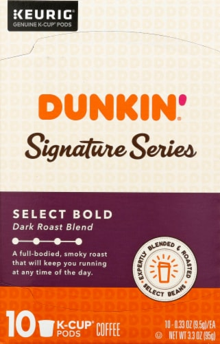 Dunkin' Signature Series Select Bold Dark Roast Blend K-Cup Coffee Pods Perspective: front