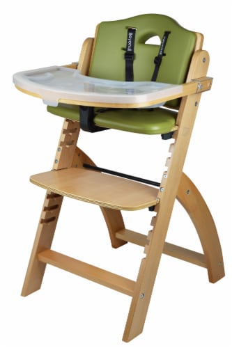 Abiie Beyond Wooden High Chair with Tray. (Natural Wood - Olive Cushion) Perspective: front