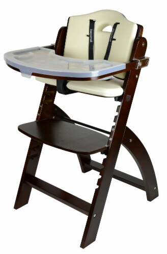 Abiie Beyond Wooden High Chair with Tray. (Mahogany Wood - Cream Cushion) Perspective: front