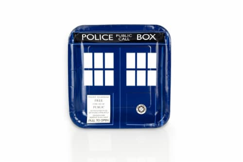 "Doctor Who 9"" TARDIS Square Paper Plates, Set of 8 Perspective: front"