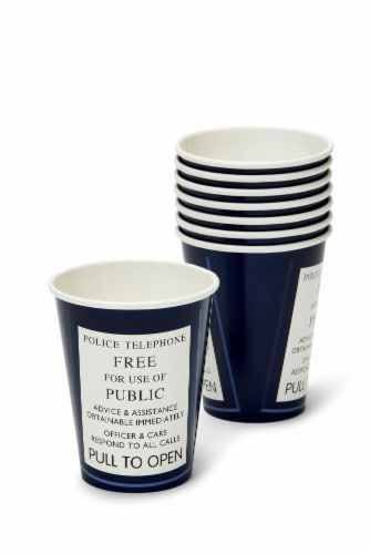 Doctor Who 9oz TARDIS Paper Cups, Set of 8 Perspective: front