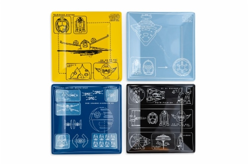 Star Wars Melamine Plate Set - 4 Pieces - Vehicle Schematics Perspective: front
