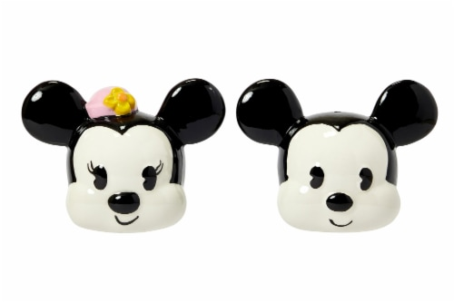 Disney Mickey Mouse & Minnie Mouse Salt & Pepper Shaker Set | Ceramic Shakers Perspective: front