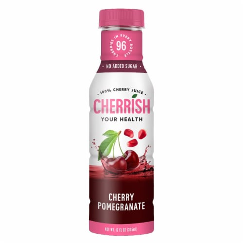 Cherrish Your Health All Natural Cherry Pomegranate Juice Perspective: front