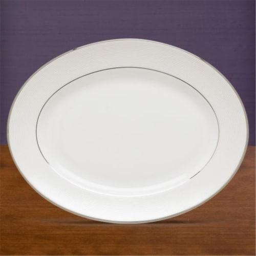 Lenox Opal Innocence Stripe Oval Platter 13 In. Perspective: front