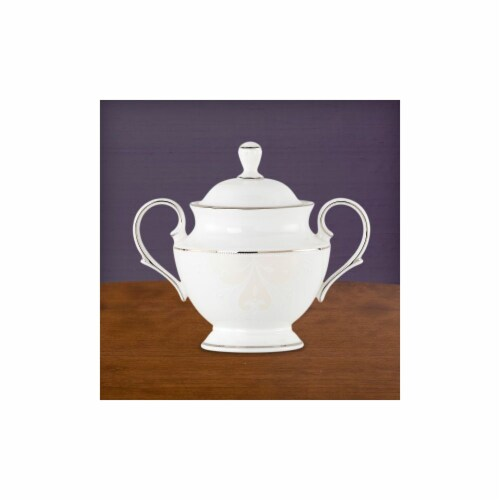 Lenox 814735 Opal Innocence Scroll Sugar Bowl With Lid Perspective: front
