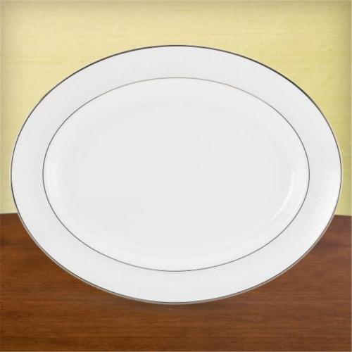 Lenox Opal Innocence Stripe Oval Platter 16 In. Perspective: front
